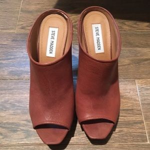 Peep toe Brown leather wedges